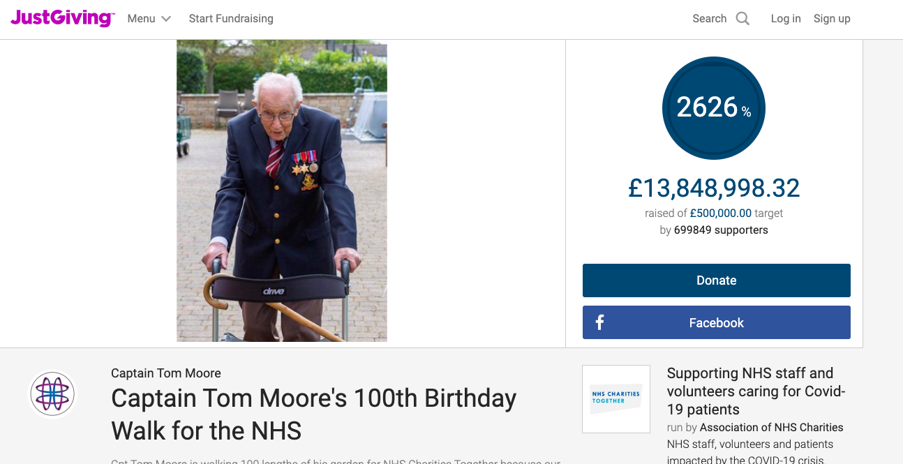 Captain Tom Moore raises over £14 million for NHS Charities - 3 Fundraising Lessons